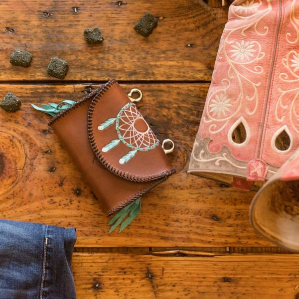 Mustang Maddy Leather Treat Pouch Dreamcatcher