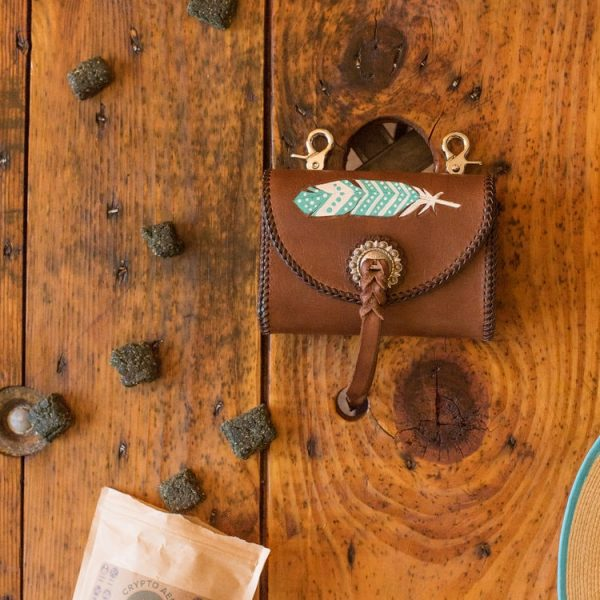 Mustang Maddy Leather Treat Pouch Feather